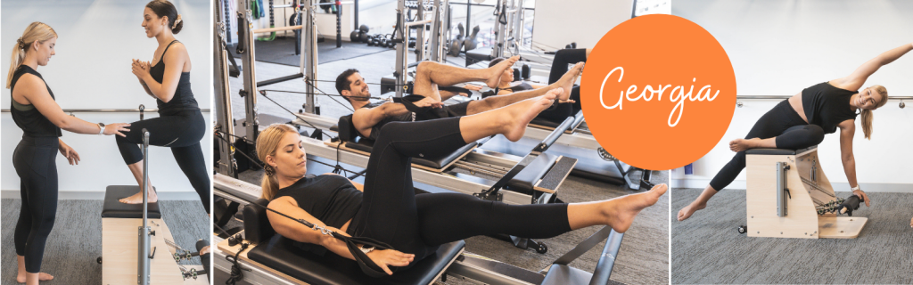 Exercise Physiologist, Georgia performing movements on the Reformer Pilates machine and providing a clinical session.
